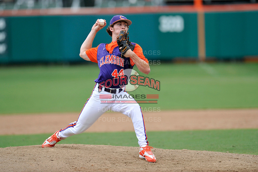 Freshman pitcher Ryley Gilliam (44) of the Clemson Tigers of Kennesaw, Ga., of the Clemson Tigers pitches in a fall practice intra-squad Orange-Purple scrimmage on Saturday, September 26, 2015, at Doug Kingsmore Stadium in Clemson, South Carolina. (Tom Priddy/Four Seam Images)