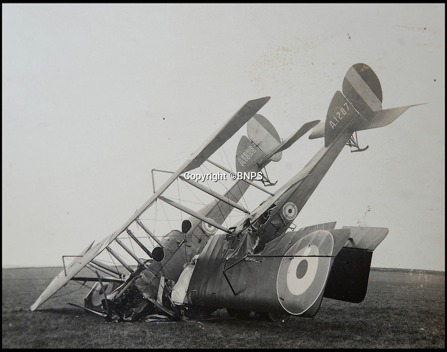BNPS.co.uk (01202 558833)<br /> Pic: C&TAuctions/BNPS<br /> <br /> Pile up...involving two RNAS aircraft.<br /> <br /> Those not so magnificent men in their flying machines...<br /> <br /> A newly discovered album of of photographs from the First War illustrates the difficulties and dangers of the earliest days of flight.<br /> <br /> Thought to have been collected by an unknown officer at the RNAS school of flying at Cranwell during the war, the album catalogues the thrills and spills of a time before health and safety.<br /> <br /> Multiple collisions, perilous carrier take off's, impacts with phone lines, random trees and even buildings are all featured - as well as a visit from the King and Queen.<br /> <br /> C&T auctions are selling the unique album on Wednesday 30th March.