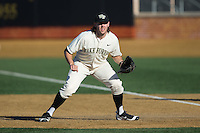 Wake Forest Demon Deacons first baseman Will Craig (22) on defense against the Richmond Spiders at David F. Couch Ballpark on March 6, 2016 in Winston-Salem, North Carolina.  The Demon Deacons defeated the Spiders 17-4.  (Brian Westerholt/Four Seam Images)