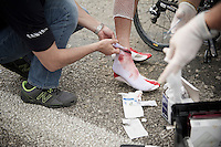 doctors attend to the many wounded, emptying their stock of bandages<br /> <br /> Tour of Turkey 2014<br /> stage 4