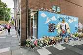 Mural and flowers at the site of the fatal stabbing of 16-year-old Alex Smith in August 2019, Munster Square, Regent's Park Estate, Camden, London.