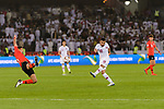 Abdulkareem Salem Al-Ali of Qatar (C) attempts a kick for a goal during the AFC Asian Cup UAE 2019 Quarter Finals match between Qatar (QAT) and South Korea (KOR) at Zayed Sports City Stadium  on 25 January 2019 in Abu Dhabi, United Arab Emirates. Photo by Marcio Rodrigo Machado / Power Sport Images