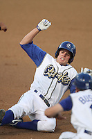 Rancho Cucamonga Quakes outfielder Nick Buss #3 slides into third base with a triple against the Bakersfield Blaze at the Epicenter on August 24, 2011 in Rancho Cucamonga,California. Rancho Cucamonga defeated Bakersfield 12-10.(Larry Goren/Four Seam Images)