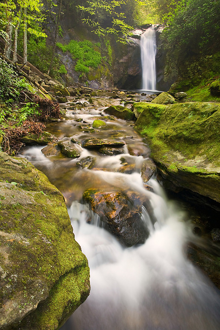 """COURTHOUSE FALLS"" -- Located in western North Carolina along Courthouse Creek near the Blue Ridge Parkway. Photogrpahed in the spring when water levels were high in the southern Appalachian mountains."