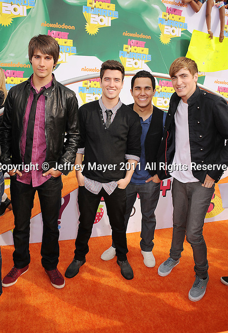 LOS ANGELES, CA - APRIL 02: James Maslow, Logan Henderson, Carlos Pena and Kendall Schmidt of Big Time Rush arrives at Nickelodeon's 24th Annual Kids' Choice Awards at Galen Center on April 2, 2011 in Los Angeles, California.