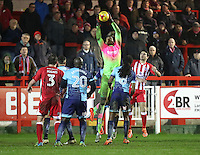 Goalkeeper Jamal Blackman of Wycombe Wanderers saves <br /> during the Sky Bet League 2 match between Accrington Stanley and Wycombe Wanderers at the wham stadium, Accrington, England on 28 February 2017. Photo by Tony  KIPAX.