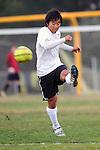 Palos Verdes, CA 02/07/12 - Michael Takeda (Peninsula #12) in action during the Mira Costa vs Peninsula Boys Varsity soccer bay league game.