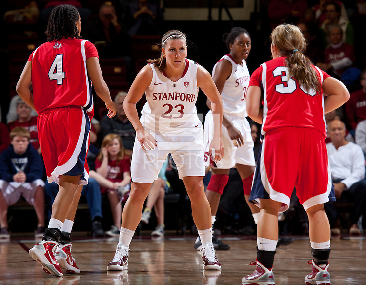 STANFORD, CA - December 12, 2010: Jeanette Pohlen of the Stanford Cardinal women's basketball team during their victory over Fresno State. Stanford won 77-40.