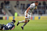 Taulupe Faletau of Bath Rugby gets past Tom Curry of Sale Sharks. Aviva Premiership match, between Sale Sharks and Bath Rugby on May 6, 2017 at the AJ Bell Stadium in Manchester, England. Photo by: Patrick Khachfe / Onside Images