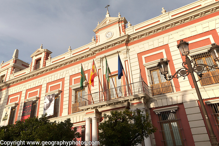 Historic architecture of provincial government offices in Plaza del Triunfo central Seville, Spain