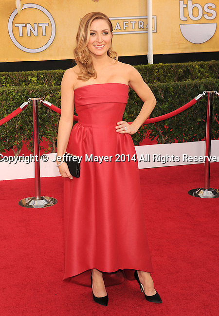 LOS ANGELES, CA- JANUARY 18: Actress Sasha Alexander  arrives at the 20th Annual Screen Actors Guild Awards at The Shrine Auditorium on January 18, 2014 in Los Angeles, California.