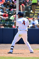 Huntsville Stars outfielder Mitch Haniger (4) during a game against the Mobile BayBears on April 23, 2014 at Joe Davis Stadium in Huntsville, Tennessee.  Huntsville defeated Mobile 4-1.  (Mike Janes/Four Seam Images)