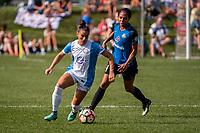 Kansas City, MO - Wednesday August 16, 2017: Ali Krieger, Sydney Leroux Dwyer during a regular season National Women's Soccer League (NWSL) match between FC Kansas City and the Orlando Pride at Children's Mercy Victory Field.