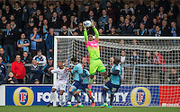 Goalkeeper Jamal Blackman of Wycombe Wanderers gathers the ball during the Sky Bet League 2 match between Wycombe Wanderers and Barnet at Adams Park, High Wycombe, England on 22 October 2016. Photo by Andy Rowland.