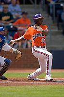 Chris Epps #26 of the Clemson Tigers follows through on his swing versus the Duke Blue Devils at Durham Bulls Athletic Park May 22, 2009 in Durham, North Carolina.  (Photo by Brian Westerholt / Four Seam Images)