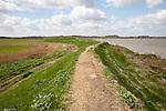 Flood defence embankment wall River Alde, Aldeburgh, Suffolk, England