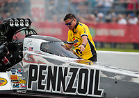 Apr 12, 2019; Baytown, TX, USA; Crew member for NHRA top fuel driver Leah Pritchett during qualifying for the Springnationals at Houston Raceway Park. Mandatory Credit: Mark J. Rebilas-USA TODAY Sports