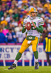 14 December 2014: Green Bay Packers quarterback Aaron Rodgers sets to pass in the second quarter against the Buffalo Bills at Ralph Wilson Stadium in Orchard Park, NY. The Bills defeated the Packers 21-13, snapping the Packers' 5-game winning streak and keeping the Bills' 2014 playoff hopes alive. Mandatory Credit: Ed Wolfstein Photo *** RAW (NEF) Image File Available ***