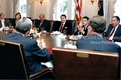 United States President Ronald Reagan meets on Thursday, November 7, 1985 with Soviet experts for a luncheon in the Cabinet Room.  From left to right: Ambassador Rozanne Ridgway, Nina Turmarkin, U.S. Secretary of State George Shultz, President Reagan, U.S. Secretary of Defense Caspar Weinberger, and Richard Pipes..Mandatory Credit: Pete Souza - White House via CNP