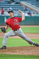 Great Falls Voyagers relief pitcher Chris Freudenberg (34) delivers a pitch to the plate against the Ogden Raptors in Pioneer League action at Lindquist Field on July 16, 2015 in Ogden, Utah. Ogden defeated Great Falls 5-2. (Stephen Smith/Four Seam Images)