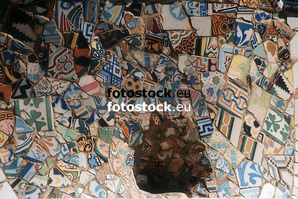 close-up of modernist tiles at the bank in Park G&uuml;ell, by Antonio Gaud&iacute;<br /> <br /> detalle de azulejos modernistas en el banco de Parc G&uuml;ell, por Toni Gaud&iacute;<br /> <br /> Nahaufnahme der Jugendstilkacheln der Bank im Park G&uuml;ell, von Antonio Gaudi<br /> <br /> Original: 35 mm slide transparency