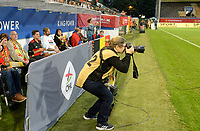 20190903 - LEUVEN , BELGIUM : photographer Sevil Oktem pictured during the female soccer game between the Belgian Red Flames and Croatia , the first womensoccer game for Belgium in the qualification for the European Championship round in group H for England 2021, Tuesday 3 th September 2019 at the King Power Stadion Den Dreef in Leuven , Belgium. PHOTO SPORTPIX.BE | DAVID CATRY