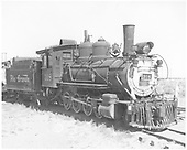 3/4 engineer's-side view of D&amp;RGW #318 at Alamosa.  #342 is coupled behind, but badly obscured.<br /> D&amp;RGW  Alamosa, CO  6/1954
