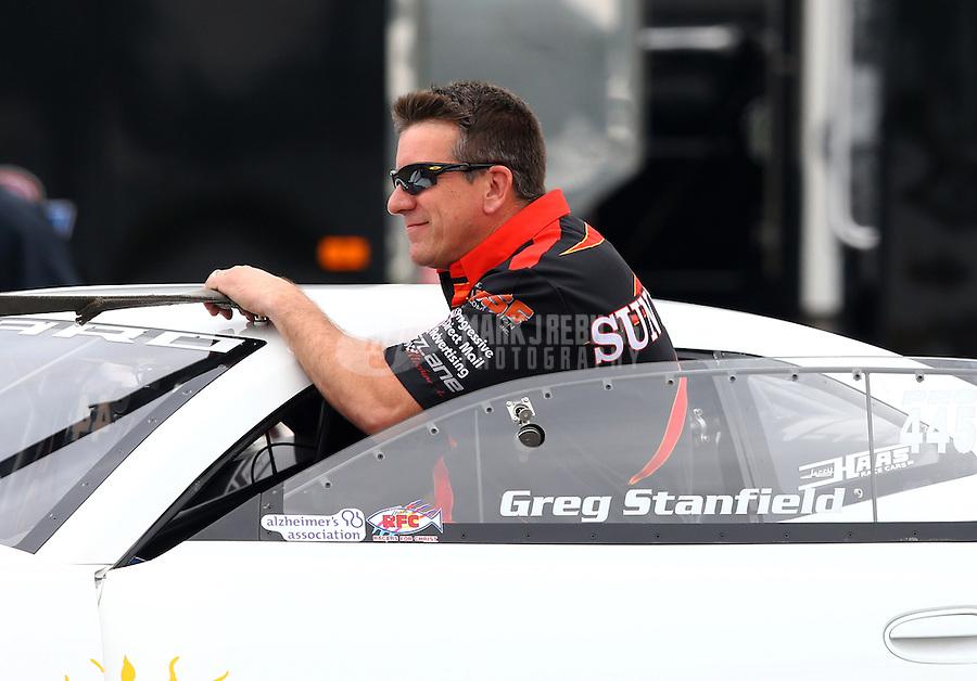 Feb 9, 2014; Pomona, CA, USA; NHRA pro stock driver Greg Stanfield during the Winternationals at Auto Club Raceway at Pomona. Mandatory Credit: Mark J. Rebilas-