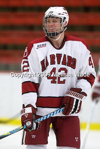 Brendan Rempel (Harvard - 42) - The St. Lawrence University Saints defeated the Harvard University Crimson 3-2 on Friday, November 20, 2009, at the Bright Hockey Center in Cambridge, Massachusetts.