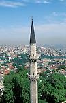 Turkey, Istanbul. Suleymaniye Imperial Mosque, the minaret