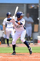 GCL Rays shortstop Bill Pujols (3) at bat during a game against the GCL Red Sox on June 24, 2014 at Charlotte Sports Park in Port Charlotte, Florida.  GCL Red Sox defeated the GCL Rays 5-3.  (Mike Janes/Four Seam Images)