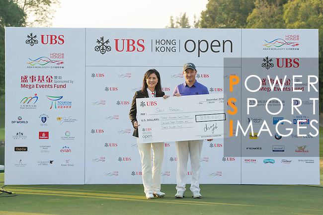 Sam Brazel of Australia receives the Trophy during the Prize giving ceremony after winning the 58th UBS Hong Kong Golf Open as part of the European Tour on 11 December 2016, at the Hong Kong Golf Club, Fanling, Hong Kong, China. Photo by Marcio Rodrigo Machado / Power Sport Images