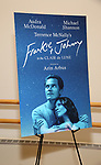 """""""Frankie And Johnny In The Clair De Lune"""" starring Audra McDonald and Michael Shannon signage at the Meet The Press  at the the New 42nd Street Studios on April 18, 2019 in New York City."""