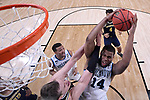 SAN ANTONIO, TX - APRIL 02: Omari Spellman #14 of the Villanova Wildcats and Moritz Wagner #13 of the Michigan Wolverines compete for the ball during the second half of the 2018 NCAA Men's Final Four National Championship game at the Alamodome on April 2, 2018 in San Antonio, Texas.  (Photo by Jamie Schwaberow/NCAA Photos via Getty Images)