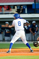 Desmond Henry (8) of the Burlington Royals at bat against the Pulaski Mariners at Burlington Athletic Park on June20 2013 in Burlington, North Carolina.  The Royals defeated the Mariners 2-1 in 13 innings.  (Brian Westerholt/Four Seam Images)