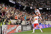 Mike Petke (12) of the New York Red Bulls celebrates scoring with Sinisa Ubiparipovic (8) during the first half of a friendly between Sanots FC and the New York Red Bulls at Red Bull Arena in Harrison, NJ, on March 20, 2010.