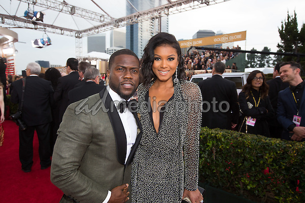 Presenter Kevin Hart and guest attend the 73rd Annual Golden Globes Awards at the Beverly Hilton in Beverly Hills, CA on Sunday, January 10, 2016. Photo Credit: HFPA/AdMedia