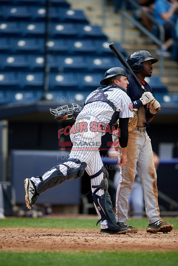Staten Island Yankees catcher Jackson Thoreson (35) throws to second base during a game against the Lowell Spinners on August 22, 2018 at Richmond County Bank Ballpark in Staten Island, New York.  Staten Island defeated Lowell 10-4.  (Mike Janes/Four Seam Images)