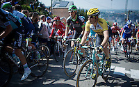 Tom Leezer (NLD/LottoNL-Jumbo) up the infamous Mur de Huy (1300m/9.8%)<br /> <br /> 79th Fl&egrave;che Wallonne 2015