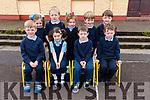 Jamie Ó Conhúir, Lia Nic Gearailt, Muiris Ó Suilleabhain, Ryan Ó Cualain and, back, Ciara Ní Laoithe, Jack Ó Cinnéide, Sibéal Ní Chíobhain, Naoise Ó Dubhain, Noah Eadie, from Scoil an Fheitéireagh, on their first day at school.