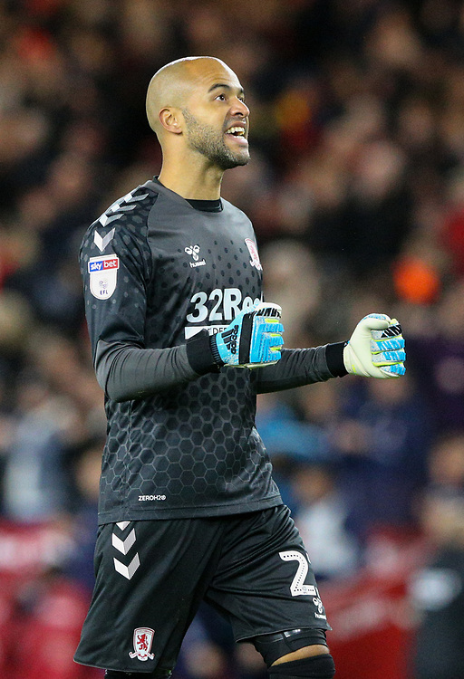 Middlesbrough's Darren Randolph celebrates his side's equaliser<br /> <br /> Photographer Alex Dodd/CameraSport<br /> <br /> The EFL Sky Bet Championship - Middlesbrough v Preston North End - Tuesday 1st October 2019  - Riverside Stadium - Middlesbrough<br /> <br /> World Copyright © 2019 CameraSport. All rights reserved. 43 Linden Ave. Countesthorpe. Leicester. England. LE8 5PG - Tel: +44 (0) 116 277 4147 - admin@camerasport.com - www.camerasport.com