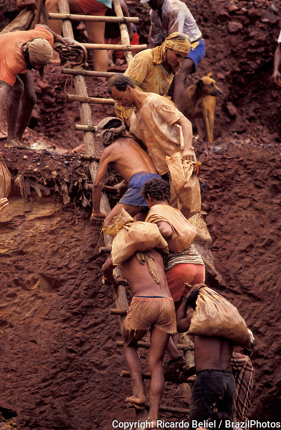 Gold seekers climbing precarious ladder, Amazon rainforest, Brazil. Dangerous conditions of work, no safety gears, unstable, insecure, danger, tough labor, hard labor, unhealthy labor, workers, poverty, unemployment, dangerous labor, dangerous work