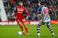 29th December 2019; The Hawthorns, West Bromwich, West Midlands, England; English Championship Football, West Bromwich Albion versus Middlesbrough; Lewis Wing of Middlesbrough takes on Barry of WBA - Strictly Editorial Use Only. No use with unauthorized audio, video, data, fixture lists, club/league logos or 'live' services. Online in-match use limited to 120 images, no video emulation. No use in betting, games or single club/league/player publications