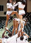 Texas Southern University Tigers cheerleaders in action during the SWAC Tournament game between the University of Arkansas Pine Bluff Golden Lions and the Texas Southern University Tigers at the Special Events Center in Garland, Texas. Texas Southern defeats Arkansas Pine Bluff 50 to 45.