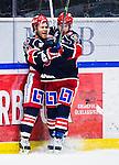 S&ouml;dert&auml;lje 2013-12-12 Ishockey Hockeyallsvenskan S&ouml;dert&auml;lje SK - Mora IK :  <br /> S&ouml;dert&auml;lje 14 Robert Carlsson jublar med S&ouml;dert&auml;lje 71 Philip DeSimone efter sitt 2-2 m&aring;l<br /> (Foto: Kenta J&ouml;nsson) Nyckelord:  jubel gl&auml;dje lycka glad happy
