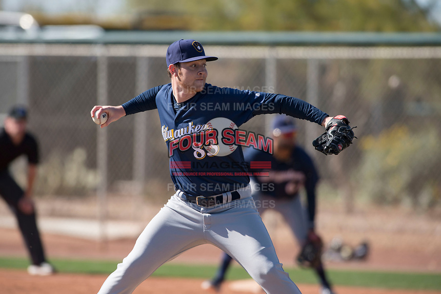 Milwaukee Brewers relief pitcher Robbie Hitt (83) during a Minor League Spring Training game against the Colorado Rockies at Salt River Fields at Talking Stick on March 17, 2018 in Scottsdale, Arizona. (Zachary Lucy/Four Seam Images)