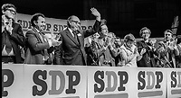 SDP leader Roy Jenkins acknowledges applause following his keynote speech at annual conference Cardiff, Wales, UK, October, 1982, 198210000195b