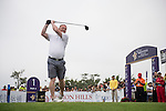 David May tees off the 1st hole during the World Celebrity Pro-Am 2016 Mission Hills China Golf Tournament on 23 October 2016, in Haikou, China. Photo by Weixiang Lim / Power Sport Images