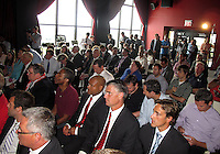 WASHINGTON, DC-JULY 10,2012:  Crowd during a D.C. United ownership press conference at the POV Lounge in the W Hotel, Washington, DC.