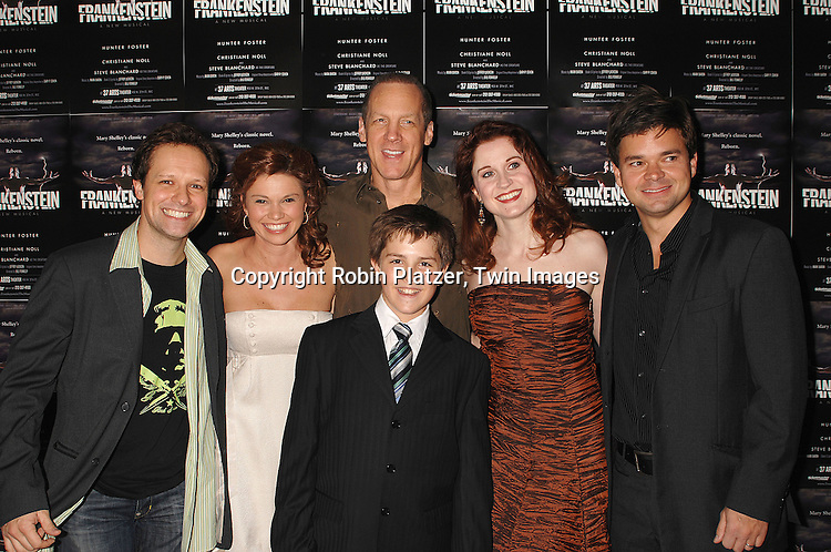 """Jim Stanek, Mandy Bruno and costars Steve Blanchard, Christiane Noll and Hunter Foster and Struan Erlenborn..at The Opening night of the new Off-Broadway Musical """"Frankenstein""""  on November 1, 2007 at The 37 Arts Theatre and at the party at Studio 450. Mandy Bruno of Guiding Light is one of the stars of the show. ....Robin Platzer, Twin Images..212-935-0770"""